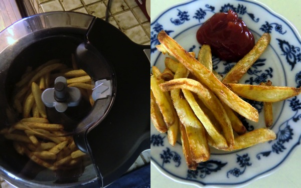 Oil less french fries collage