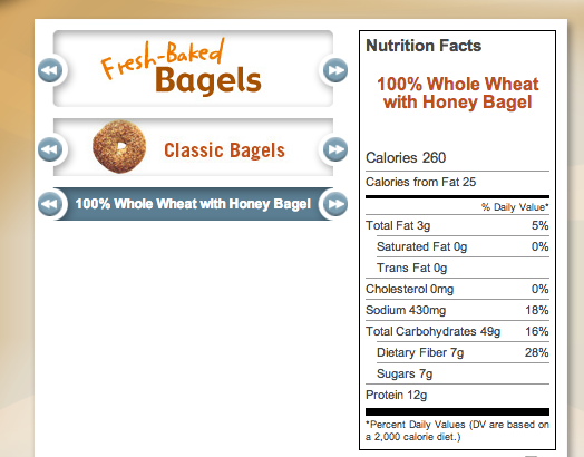 Einsteins whole wheat bagel nutrition