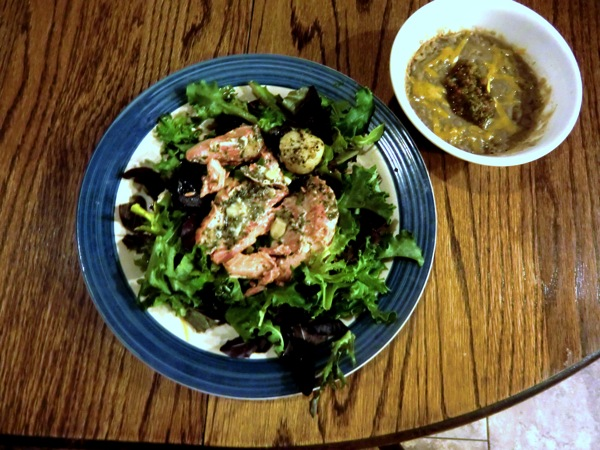 Salmon salad refried beans