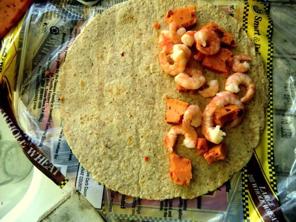 Open shrimp quesadilla