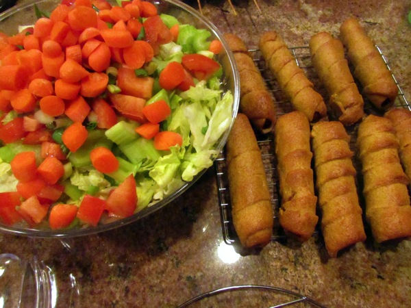 Corn dogs and salad