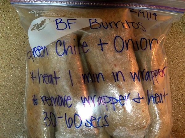 BF Burritos freezer bag