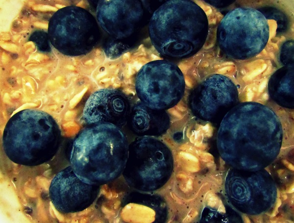 Blueberry Muffin Overnight Oats Close Up